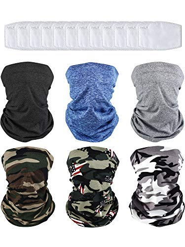 6 Pieces Multi-purpose Face Cover Bandanas with 18 Pieces Breathable Safety Carbon Cotton Pieces (Light Grey, Black, Dark Blue and Camouflage Color Set)