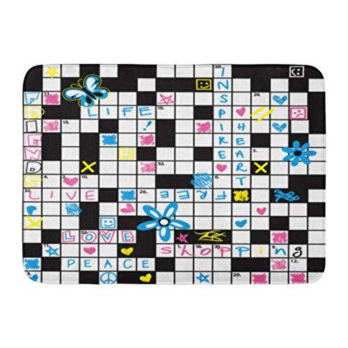 Fußmatten Bad Teppiche Outdoor/Indoor Fußmatte Muster Kreuzworträtsel Blumen und Symbol niedlichen Frieden einfache Schwarze Badezimmer Dekor Teppich Badematte