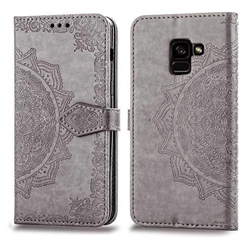 Bear Village Hülle für Galaxy A8 2018, PU Lederhülle Handyhülle für Samsung Galaxy A8 2018, Brieftasche Kratzfestes Magnet Handytasche mit Kartenfach, Grau