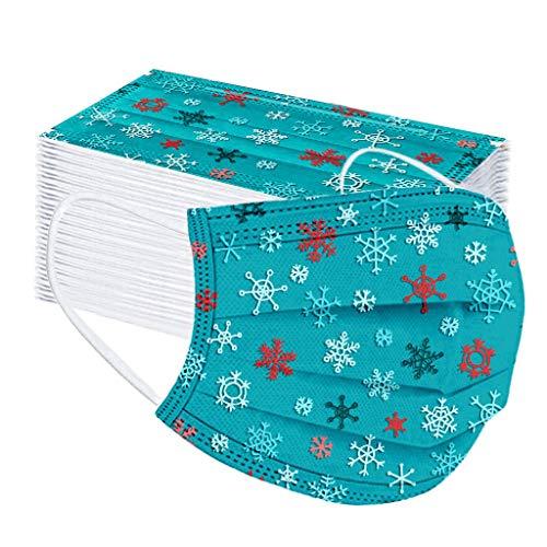 LUCKME 50 Stück Einweg 3 lagig Mund-Nasen-Schutz, Motiv Weihnachtsdruck Atmungsaktive Multifunktionstuch Bandana Halstuch Schals für Unisex Erwachsene Damen Herren