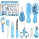 10 Pcs Baby Grooming Baby Healthcare Kit Newborn Baby Care Accessories Baby Health Care Set Baby Nail Clipper Scissors Hair Comb Brush Nose Cleaner Safety for Toddler Infant Nursing Grooming (Blue)