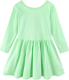 Mud Kingdom Long Sleeve Plain Swing Dress for Little Girls Backless Cotton