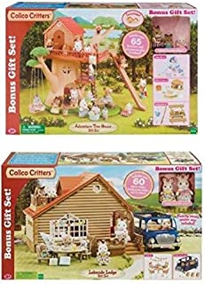 Calico Critters Lakeside Lodge Gift Set AND THE Calico Critters Adventure Treehouse Gift Set ( 2 Pack Bundle ( ; Age: 3 Years - 10 Years )