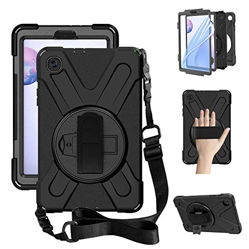 ZenRich Galaxy Tab A 8.4 Case (2020), SM-T307/SM-T307U Case with Built-in Screen Protector Kickstand Hand Strap and Shoulder Strap zenrich Heavy Duty Shockproof Samsung Galaxy Tab A 8.4 Case-Black