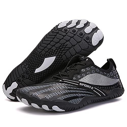 KUXUAN Zapatos de ciclismo-2021 nuevos zapatos de red de cinco dedos al aire libre senderismo versión deportiva zapatos de senderismo zapatos de escalada en roca de campo traviesa, negro-45