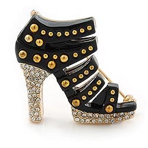 Avalaya – Spilla a forma di scarpa con tacco alto, in smalto nero, lunghezza 35 mm