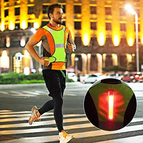 DAUERHAFT Chaleco de Seguridad para Ciclismo Nocturno Diseño de Estilo Chaleco Reflectante, con Conjunto de lámpara LED Externa(Fluorescent Yellow)