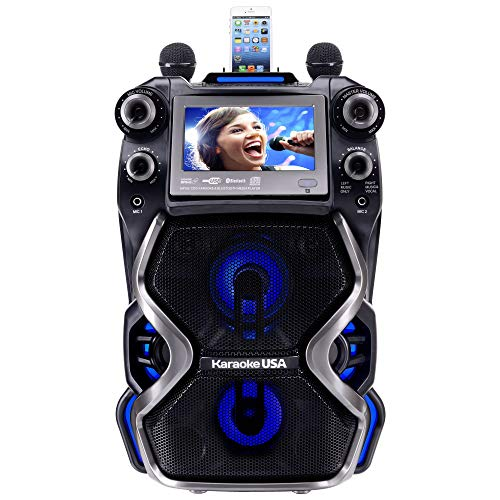 Karaoke USA Complete Rechargeable Karaoke System with 2 Microphones, Remote Control, 7'' Color Display, LED Lights – Works with Bluetooth,...