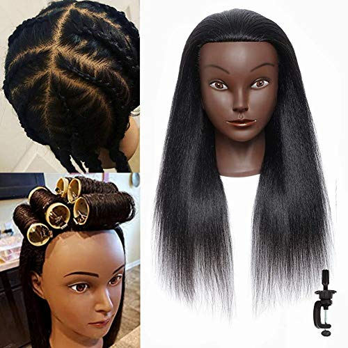 """Mannequin Head 16"""" 100% Real Hair Hairdresser Doll Head Cosmetology Manikin Training Maniquins Head Practice Braiding Curls Styling Free Stand"""