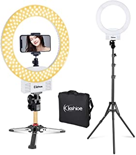 Kshioe Upgraded 12'' Dimmable LED Ring Light, Adjustable 2700-5500K Color Temperature Circle Light with 78 Inch Light Stand & Table Top Stand, Camera Phone Holder, Carring Case for Video Shooting