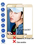 Todotumovil Protector de Pantalla Huawei P8 Lite 2017 Dorado Completo 3D Cristal Templado Vidrio Curvo para movil