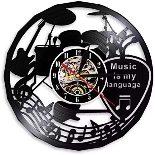 Regalo Reloj de pared de vinilo Reloj de grabación Tambor de guitarra Reloj vintage Reloj de cuarzo silencioso Reloj de pared Regalos personalizados hechos a mano para niños y adultos 12 pulgadas sin