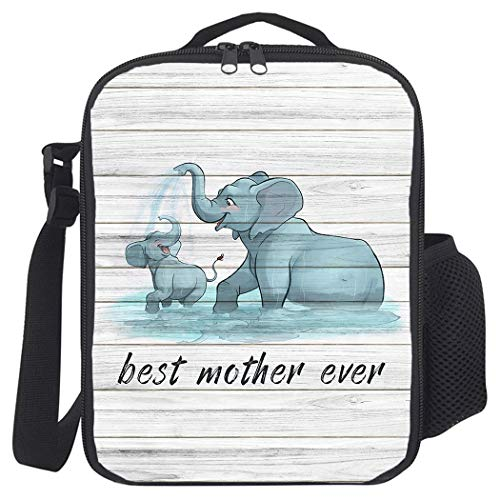 Insulated Lunch Bag, Prep Meal Box for Kids Teens Adults | Leakproof Lunch Pail Cooler Bag with Shoulder Strap for Work/School/Picnic, Best Mother Elephant Playing with Son on Wooden Backdrop
