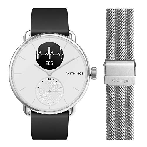 Withings ScanWatch mit Zusatzarmband im Bundle - Hybrid Smartwatch mit EKG, Herzfrequenzsensor und Oximeter, 38mm, Weiß, mit 18mm FKM-Armband Schwarz + zusätzliches 18mm Mailänder Armband Silber