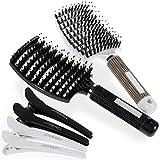 Lictin 2 Brosse à Cheveux en Poils de Sanglier Anti-Nœud & 4 Epingles à Cheveux...