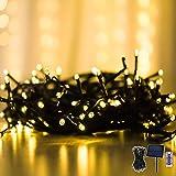 Catena Luci da Esterno, Solare, Stringa di Luci LED da 15 M, Bianco Caldo, Grande Pannello...