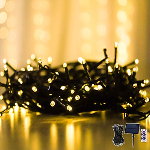 Guirlande Lumineuse LED, 100 Lumières Blanches Chaudes pour Décoration Extérieure, Alimentation Solaire, Allumage Automatique, Guirlande Lumineuse Réglable avec Télécommande et Minuterie, Imperméable