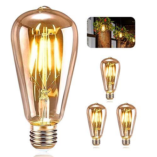 Vintage Edison Bombilla, ASANMU Bombilla LED Vintage E27 ST64 4W (Equi