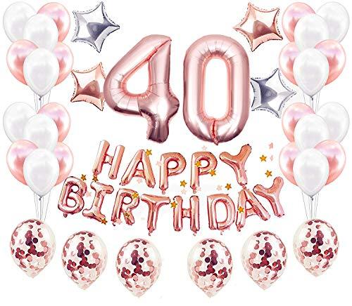 JeVenis 38 Pieces 40 Ans Anniversaire Décorations Femme, Anniversaire Ballon Or Rose Kit Guirlande Happy Birthday Ballon