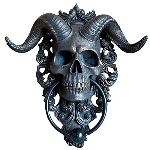 Horned Skull Türklopfer, Türklopfer Mit Totenkopf-Motiv Ziegenkopf, Klassischem Motiv Aus Polyresin, S/L