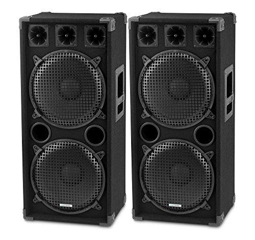 "Paar McGrey DJ-2222 2-Etagen DJ PA Lautsprecher Box 2x 30cm (12"") Subwoofer 2000W (Passiv, 2-Wege System, Holzgehäuse)"