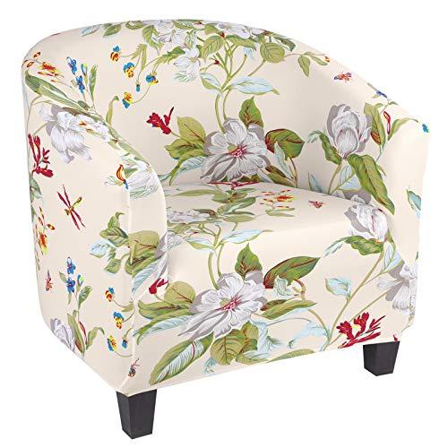 Ryoizen Chesterfield - Funda elástica para sillón de cóctel de 1 plaza, antideslizante, lavable, funda extraíble para tullsta banconeo (A-Primavera)