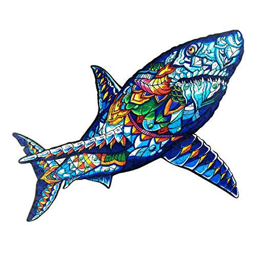 Puzzle Jigsaw Rompecabezas de Madera con 300 Coloridas Piezas de Animales para Adultos y niños (Tiburón)