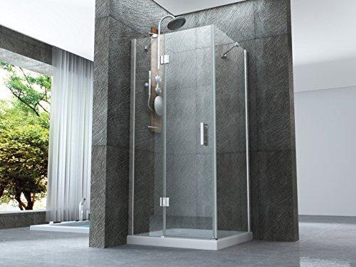 Box ducha con puerta batiente externo y lado fijo de cristal 8mm transparente h.195cm reversibilepura