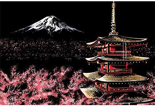 DMTWSM Diy 5D Diamond Painting Mount Fuji Tower Cherry Blossom Architecture Art Diamond Painting Cross Stitch Gift Wall Decoration Living30 *40 Cm (12 * 16Inch)