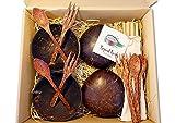 Tropical Freaks® Kokosnussschalen im Set inkl. Palmenholz Besteck und Bambusstrohhalme