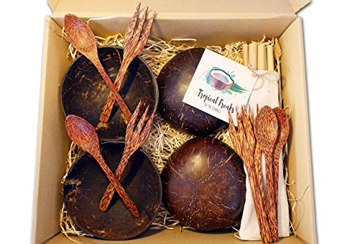 Tropical Freaks® | 4 Kokosnussschalen im Set mit 4 Palmenholz - Löffel & Gabeln & 12 Bambusstrohhalme + Bambusbürste | Coconut Bowl | Buddha Bowl |Bamboo Straw | 100% Natur