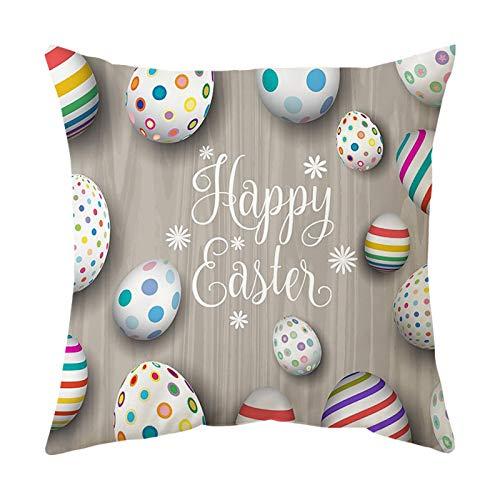 Mku Conejitos Decorativos Cuadrados De Lino De Algodón De Pascua Con Huevos Funda De Almohada Funda De Cojín 45 * 45 Cm