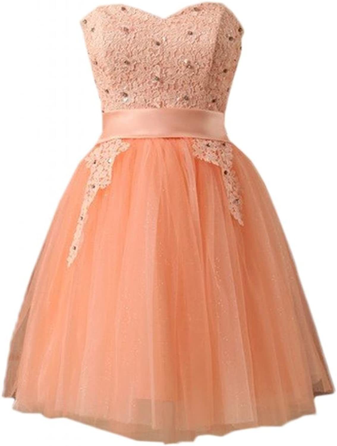 Angel Bride Sweet Mini Sweetheart Satin Tulle Lace Homecoming Dresses