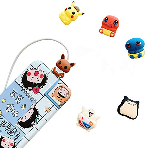 Cable Animal Bites, USB Cable Protector - Cute Kawaii Animals - for Phone Charging Cable, Compatible with iPhone and Android - 6 Pack
