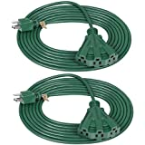 DEWENWILS 15 FT Green Outdoor Tri-Tap Extension Cord Splitter, Weatherproof 16/3 SJTW Power Cable for Halloween Decoration and Landscaping Lights, UL Listed, Pack of 2