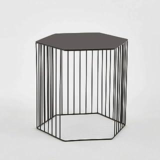 Tables HAIZHEN Pliable Bordure métallique hexagonale, de Chevet Petite Basse en Gros, Noir, Or Stations de Travail informa...