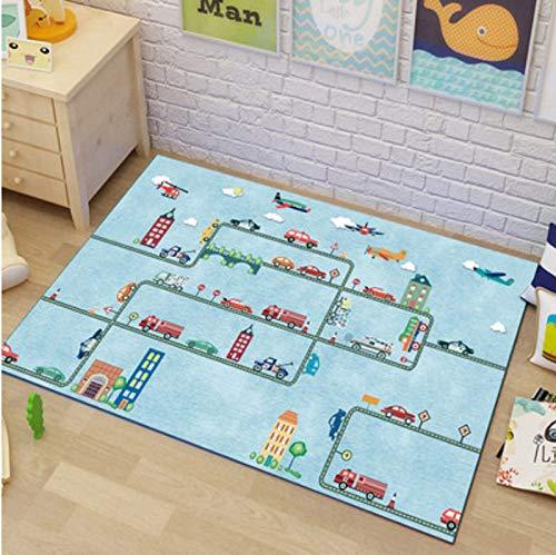 weiyibaobei Carpet Rectangle Children's Room Carpet Bedroom Cute Cartoon Anime Car Maze Desk Bed Home Play Boy Floor Mat All-match Floor Carpet 160 * 280cm