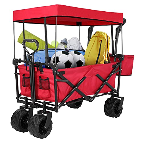 """Pirecart Extra Large Heavy-Duty Collapsible Wagon, 7"""" All-Terrain Wheels..."""