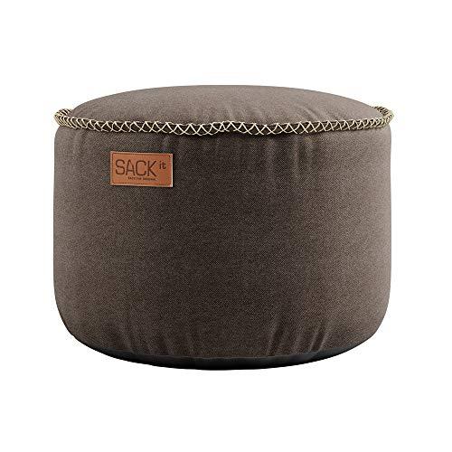 SACKit – RETROit Canvas Drum Dark Brown – Braun runder Indoor hocker – Perfekt für das Wohnzimmer – Kombinieren Sie den Sitzhocker mit einem Sitzsack – Dänisches Design - Sitzhocker Fußhocker