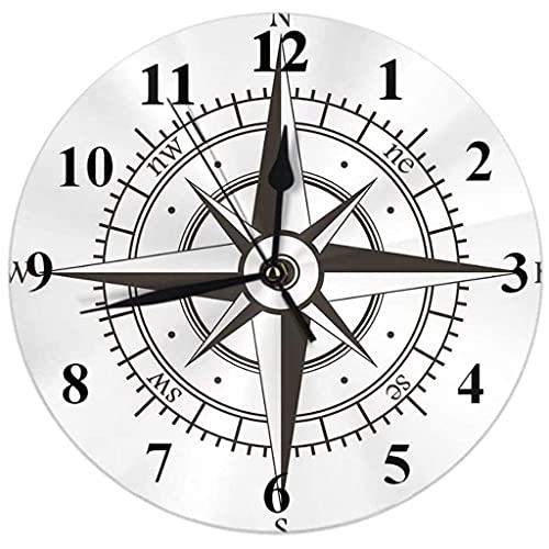 Decoración reloj de pared redondo pared reloj brújula reloj de pared viento rosa vintage navegación equipo orientación reloj ronda silencioso sin tictac decoración de la casa 10 pulgadas para la sala