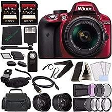 Nikon D3300 DSLR Camera with 18-55mm AF-P DX Lens (Red) + 64GB SDXC Card + Remote + Flash + Cleaning Cloth Bundle 4