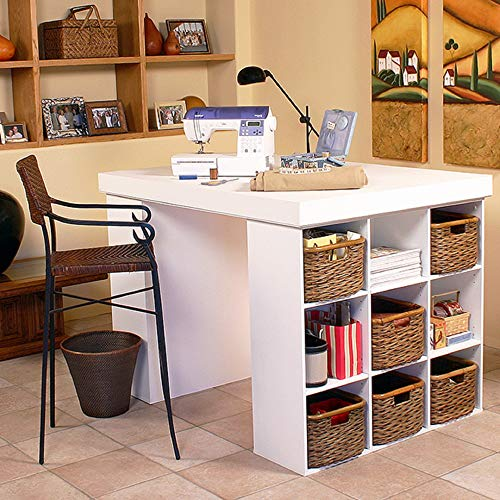 Project Center Desk with 2 Bookcase Sides-White