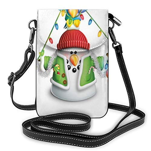 Women Small Cell Phone Purse Crossbody,Cartoon Whimsical Character With Christmas Garland Blue Bird Various Xmas Elements