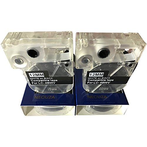 "NEOUZA 2PK Compatible for Epson Label Tape Cartridge Width 12mm 1/2"" (LC-4BWV9 LK-4WBV White on Black)"