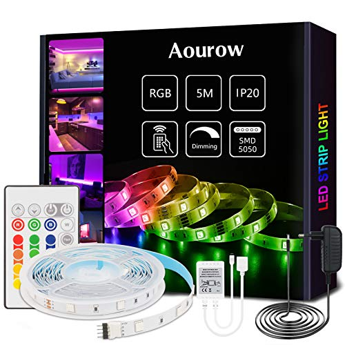 Aourow Tira LED 5m RGB,Tiras LED Flexible con Control Remoto de 24 Teclas y Adaptador de 12V,LED Strip Multicolor 5050 SMD 150 LEDs con Autoadhesivo para Decoración,No Impermeable