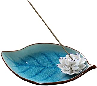 Corciosy Incense Stick Burner Holder-Ceramic Decorative Lotus Incense Burner Leaf-Incense Ash Catcher Tray Sky Blue