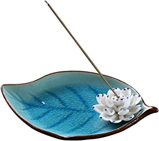 Corciosy Incense Stick Burner Holder-Ceramic Decorative Lotus Incense Burner Leaf- Incense Ash Catcher Tray Sky Blue