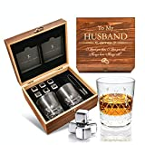Wedding Anniversary Gifts for Him - Whiskey Glass Set for Men - Engraved 'To My Husband' I Anniversary Gifts for Husband from Wife I Flamed Wood Case, 2 Hand-Cut Crystal Glasses, & Cooling Stones