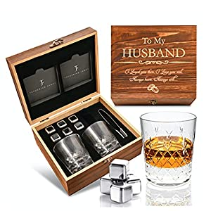 HUSBAND GIFT FOR ANY OCCASION – a delicately engraved wooden box 'To My Husband - I Loved you then, I Love You still. Always have, Always will', 2 x Crystal Cut Glasses, 6 X Stainless Steel Stones, a Velvet Bag & 2 x timeless Slate Coasters. A meanin...