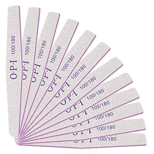 Lime per Unghie Professionale - Lima Unghie 100/180 Dimensioni Grana - Lime per Unghie Gel Professionali Nail Files Lavaggio Bilaterale Lavabile per Manicure e Nail Art in Gel Acrilico - 12 PCS